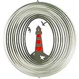 colourliving Edelstahl-Windspiel Leuchtturm 300 ROT Edelstahlsegmente Acrylglas Kugellagerwirbel Made in Germany