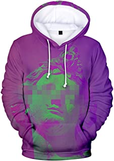 ADM6DYF Men's Plus Size Long Sleeve Pullover Hoodie, Loose Sweatshirt Sweater, Vaporwave 3D Printed Hooded Couple Wear
