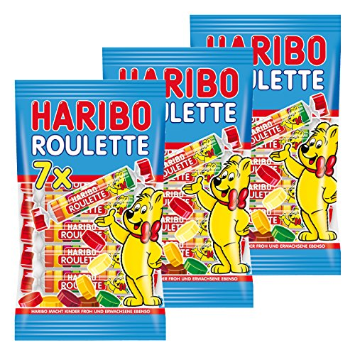 Haribo Roulette, 3er Pack, Fruchtgummi, Gummibärchen, Weingummi, Süßigkeit, Tüte