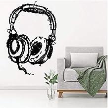 Pegatinas de pared Decoración del hogar DIY Dj Listening Auriculares Arte Calcomanía de pared Música abstracta Auriculares Estudio Pegatinas de pared Familia Moda Decoración Papel pintado 57 * 86