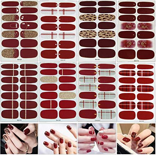 Mwoot 8 Blatt (112pcs) Nagelsticker,Nagelaufkleber,Nagelkunst Sticker Selbstklebende Maniküre Sticker Schöne Mode DIY Dekoration