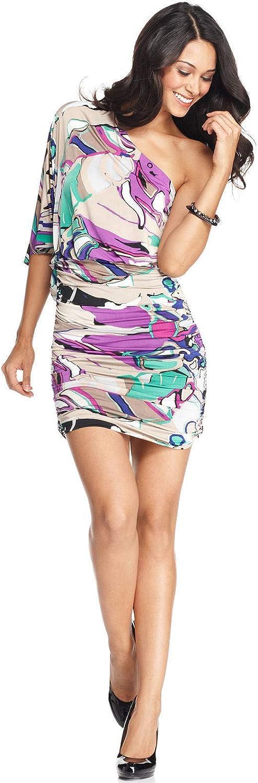 NINE WEST 3/4 Sleeve One-Shoulder Ruched Dress Top, Clover Combo