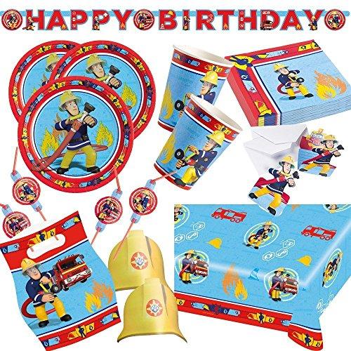 Unbekannt 70-Teiliges Party-Set Feuerwehrmann Sam Mega Geburtstag Party Set für 8 Kinder