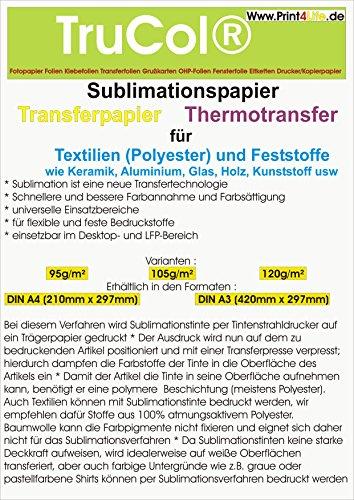 Papel de sublimación   Papel de transferencia para textiles y sólidos (100 hojas, DIN A4, 120 g/m²)