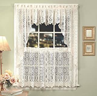 LORRAINE HOME FASHIONS Hopewell Lace Window Swags, 58-Inch by 38-Inch, Cream, Set of 2