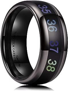 Men's 8mm Black Temperature Measurement Tungsten Carbide Ring Wedding Band Polished Comfort Fit