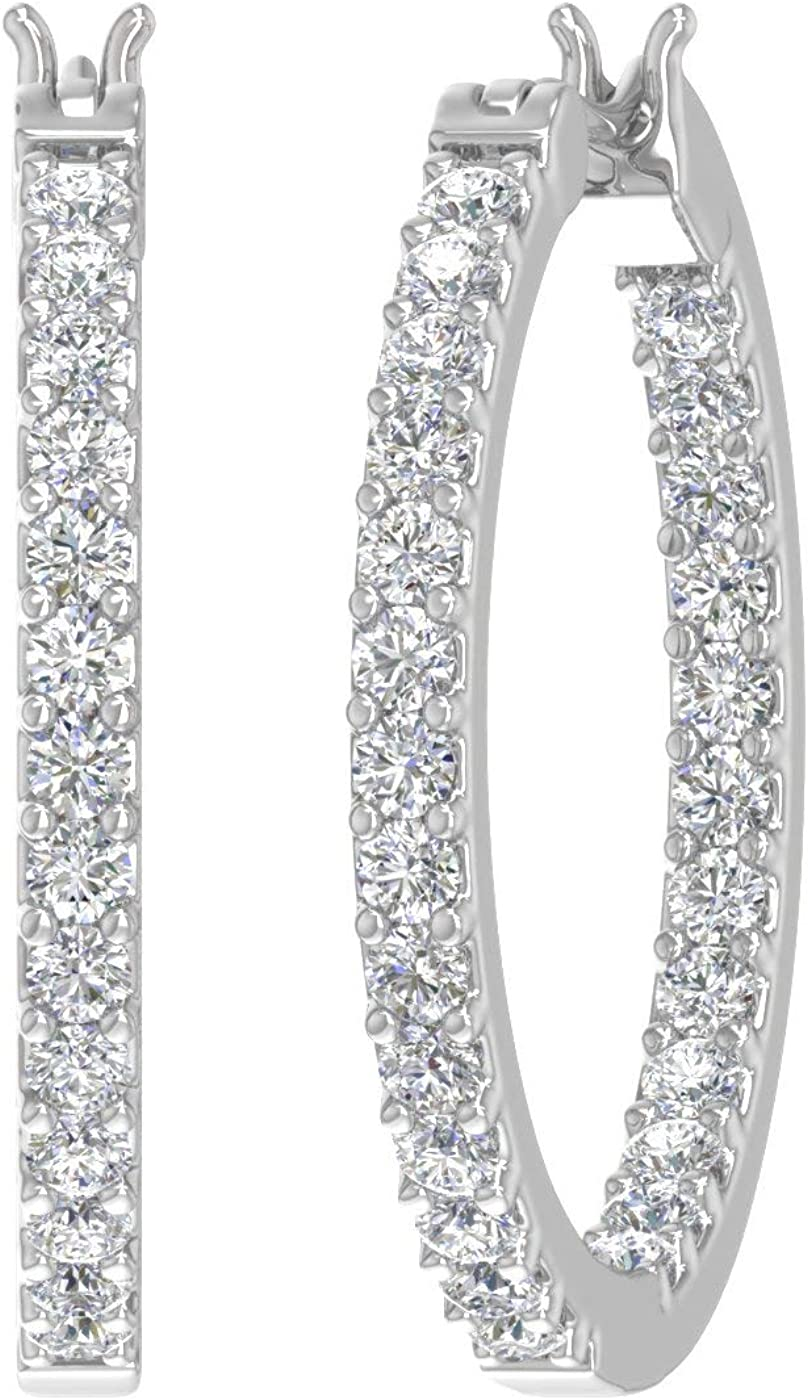 1 Carat Prong Set Diamond Inside-out Hoop Earrings in 10K Solid Gold