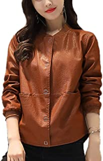 DISSA P116 Women Faux Leather Cropped Jacket Slim Coat Leather Jacket