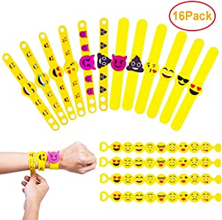 QAMY Emoji Rubber Pulsera Novedad Muñequera Juguete para Niños Bolsa de Fiestas Rellenos Decoraciones Suministros Navidad Divertidos Regalos en 3 Estilo