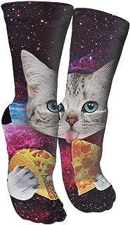 靴下 抗菌防臭 ソックス タコ猫ピザアスレチックスポーツソックス、旅行&フライトソックス、塗装アートファニーソックス30 cmロングソックス