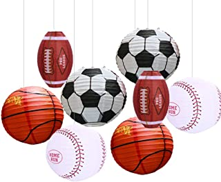 Uniqooo 8PCS Assorted Paper Round Lantern Set Perfect for Game Celebration, Birthday, Festival, Decoration - Great for Indoor or Outdoor (Sports Lantern Set) Football, Soccer, Basketball, Baseball