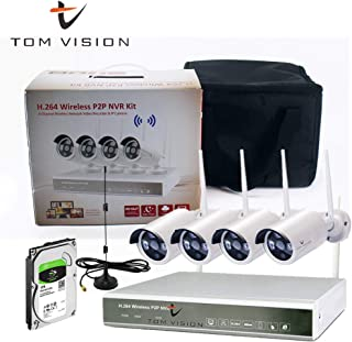 Tomvision Portable Type 4Channel P2P CCTV Wireless Security Surveillance Camera Complete KIT with 4CH WIFI NVR Waterproof Bullet 1080P IR NightVision with 1TB Hard Disk and 1PC Antennae