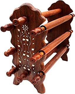 A K Handicrafts Wooden Bangle Holder Jewellery Stand for Women Carving 12 Inches