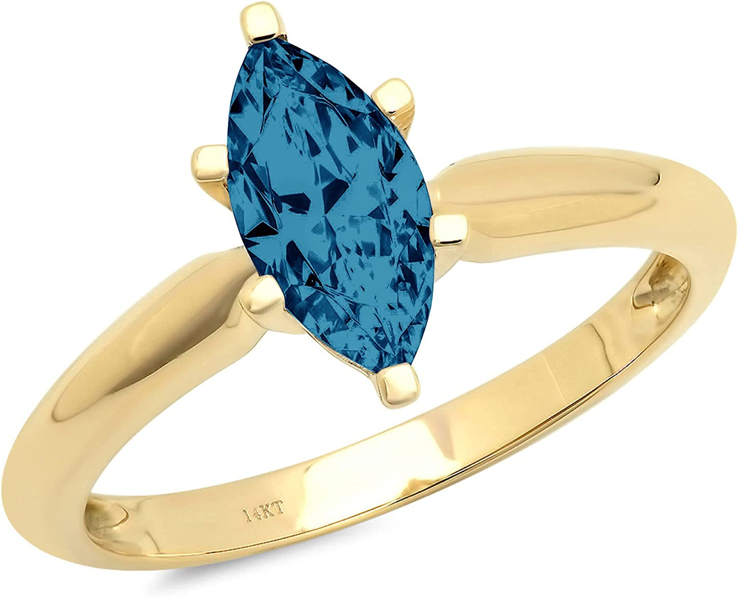 1.4ct Brilliant Marquise Cut Solitaire Natural Royal Blue Ideal VVS1 6-Prong Engagement Wedding Bridal Promise Anniversary Ring Solid 14k Yellow Gold for Women