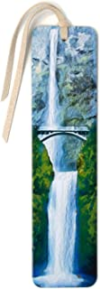 Multnomah Falls Photograph by Mike DeCesare - Digitally Painted Handmade Wooden Bookmark with Suede Tassel
