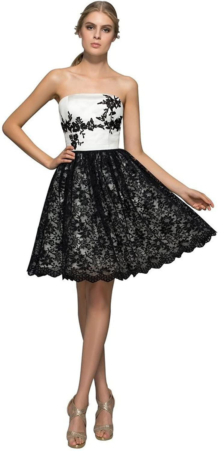 JoyVany Open Back Lace Formal Cocktail Dresses Strapless Short Evening Dresses