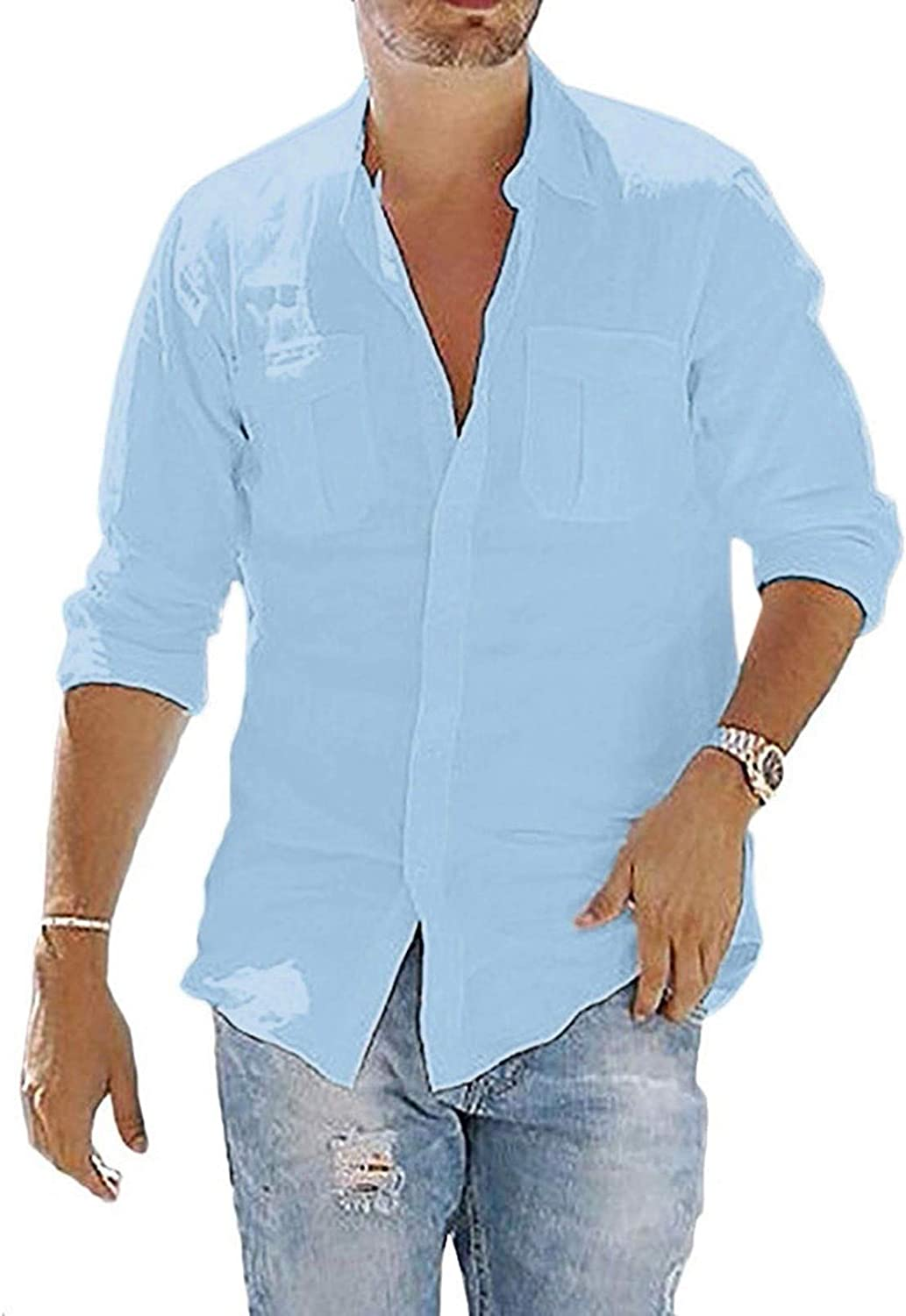 Men's Cotton Linen Henley Shirts Summer Casual Loose Long Sleeve Button Down Beach Yoga Tops Blouse with Pocket
