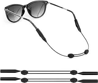YR スポーツメガネバンド 眼鏡ストラップ 調整可能 スチール製バンド ブラック ほとんどのメガネ用 ずれ落ち防止 軽量 防水 メガネバンド 男女兼用 2枚セット