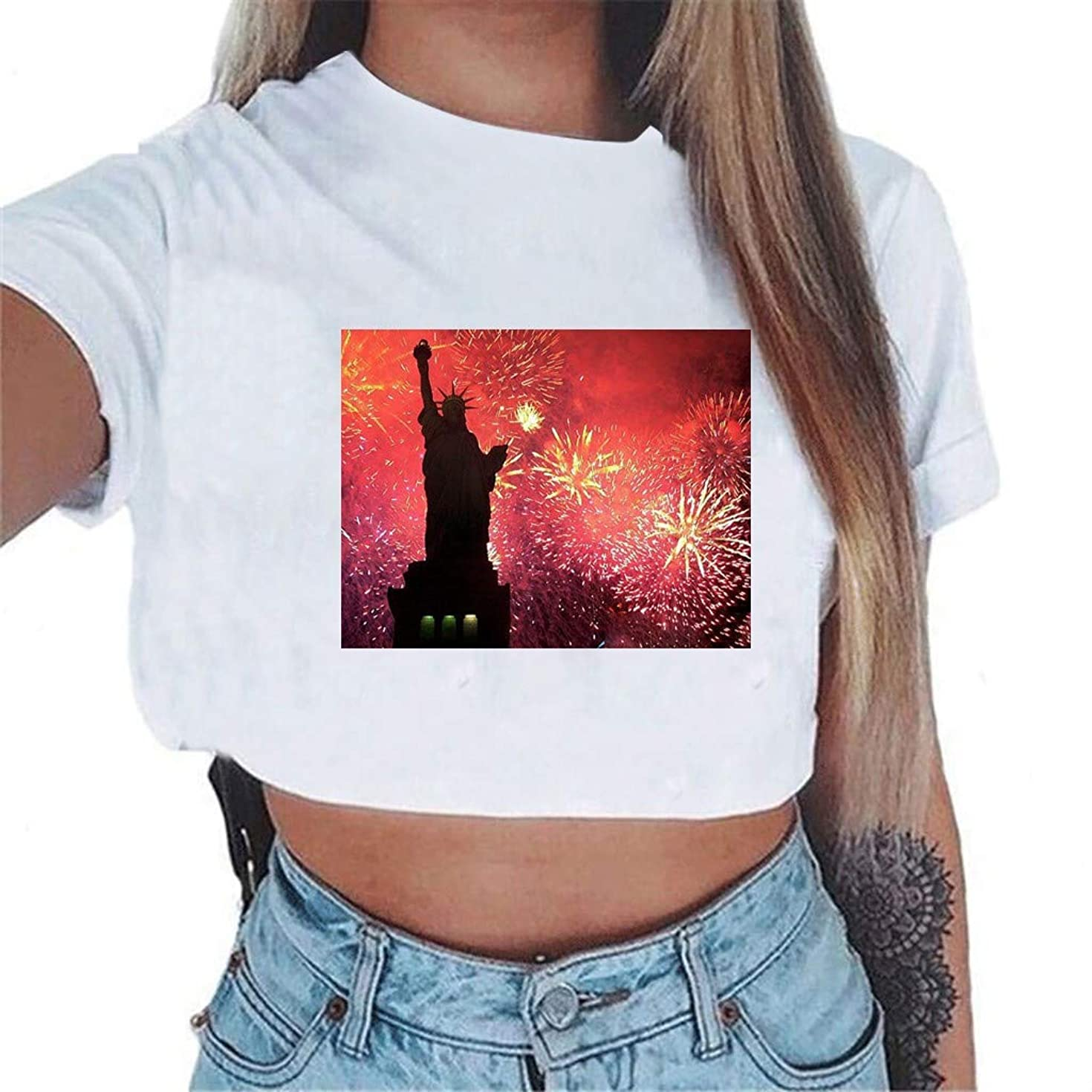 T Shirt for Women American Flag Statue of Liberty Printed Tees Shirt Lady Casual Short Sleeve Blouse Tops