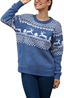 charmsamx Women's Ugly Christmas Sweater Patterns Reindeer Xmas Tree Snowflakes Christmas Crewneck Long Sleeves Knit Pullover Tops Girls Jumpers