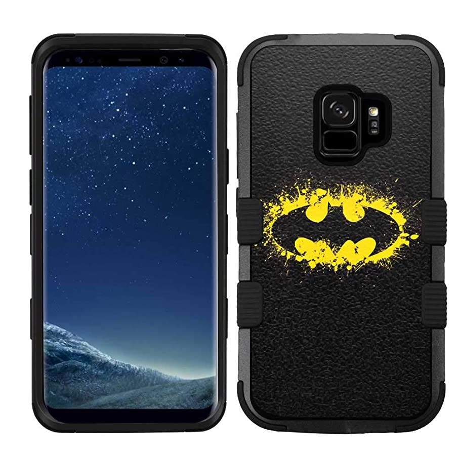 for Galaxy S9 Plus / S9+, Hard+Rubber Dual Layer Hybrid Heavy-Duty Rugged Impact Cover Case - Batman #YL