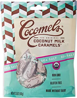 Cocomels Coconut Milk Caramels, Sea Salt Flavor, Organic, Dairy Free, Vegan, Gluten Free, Non-GMO, No High Fructose Corn Syrup, Kosher, Plant Based, Individually Wrapped Candy, (1 Pack)