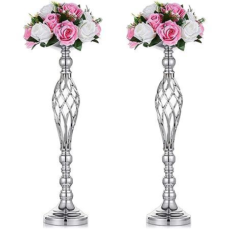 h/ôtel LANLONG Lot de 2 supports de bougeoir en m/étal pour d/écoration de f/ête de mariage d/îner /év/énement 2pcs-L Argent/é. restaurant