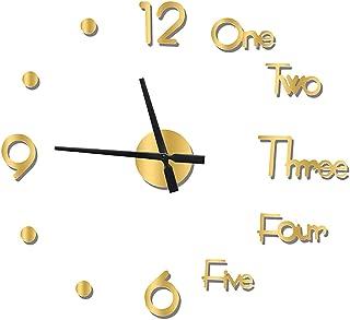 3D DIY Mirror Surface Wall Clocks, Frameless Clock Large Wall Clocks Modern Design Decorative Wall Watches, for Living Roo...