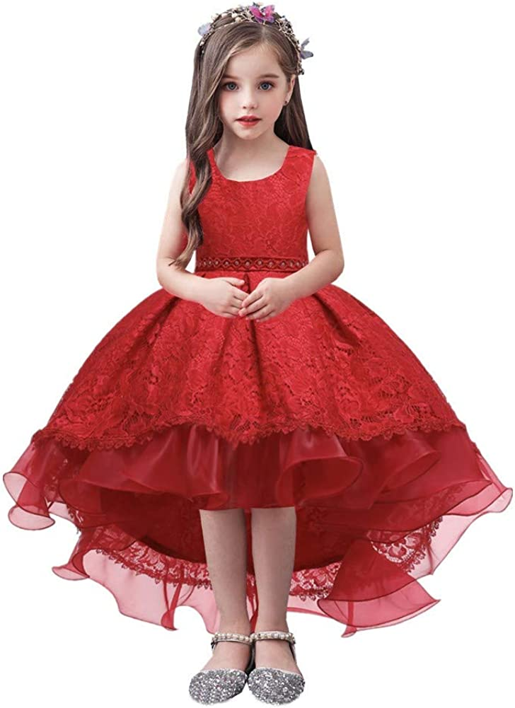 WOCINL Flower Girls Wedding Tulle Lace Hi-lo Dress Princess Birthday Pageant Party Formal Communion Evening Dance Ball Gown