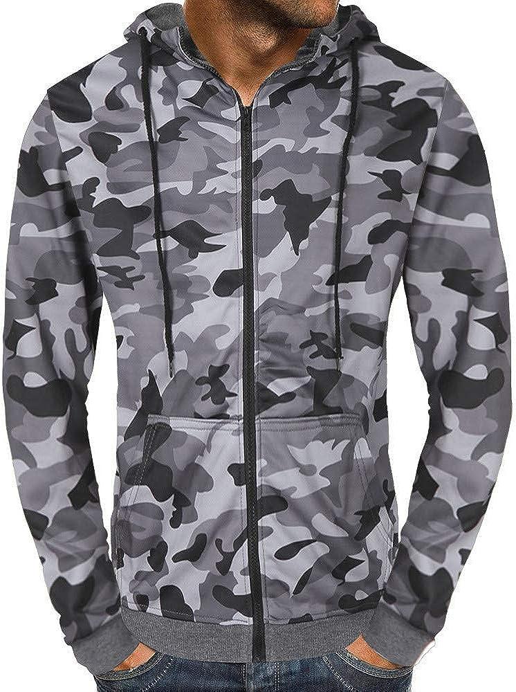 Mens Hoodies Full Zipper Lightweight Casual Long Sleeve Camo Hooded Pullover Sweatshirt Outwear Jacket with Kanga Pocket