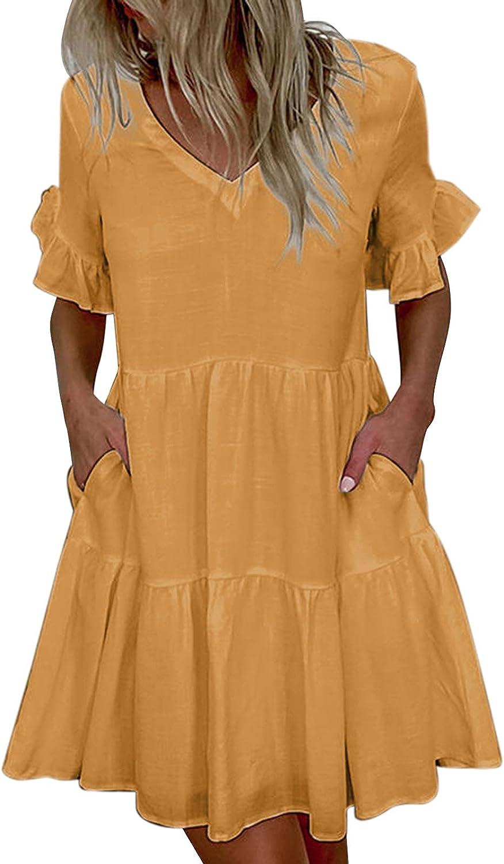 TavorptSummerDressesforWomenCasualV-Neck Fashion Plain Ruffles Short Sleeve PartyBeachSundress ShortDress