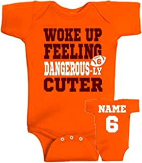 Personalized - Woke up feeling dangerous-ly CUTER or custom word, front & back design bodysuit or tshirt, I woke up feeling dangerous, Cleveland Baker Mayfield baby toddler fan