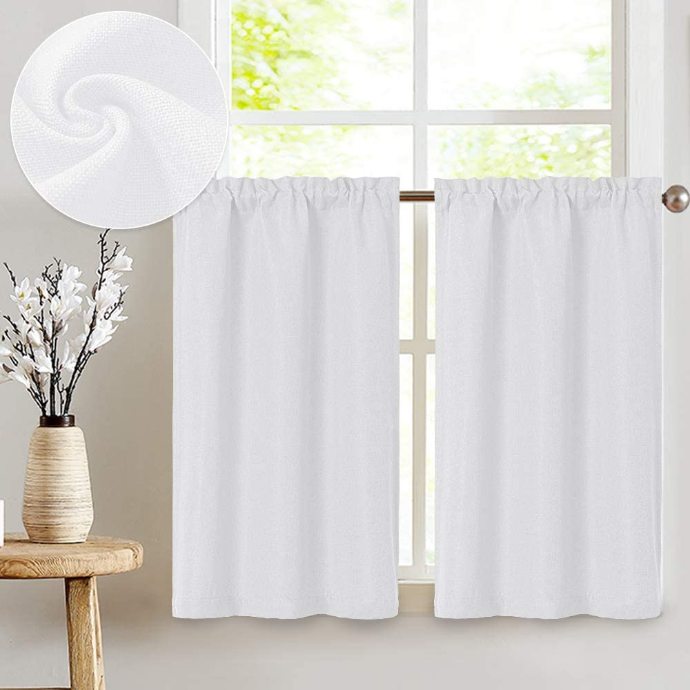 JINCHAN White Kitchen Inventory cleanup selling sale Nippon regular agency Curtains Faux Tier Curtain Linen
