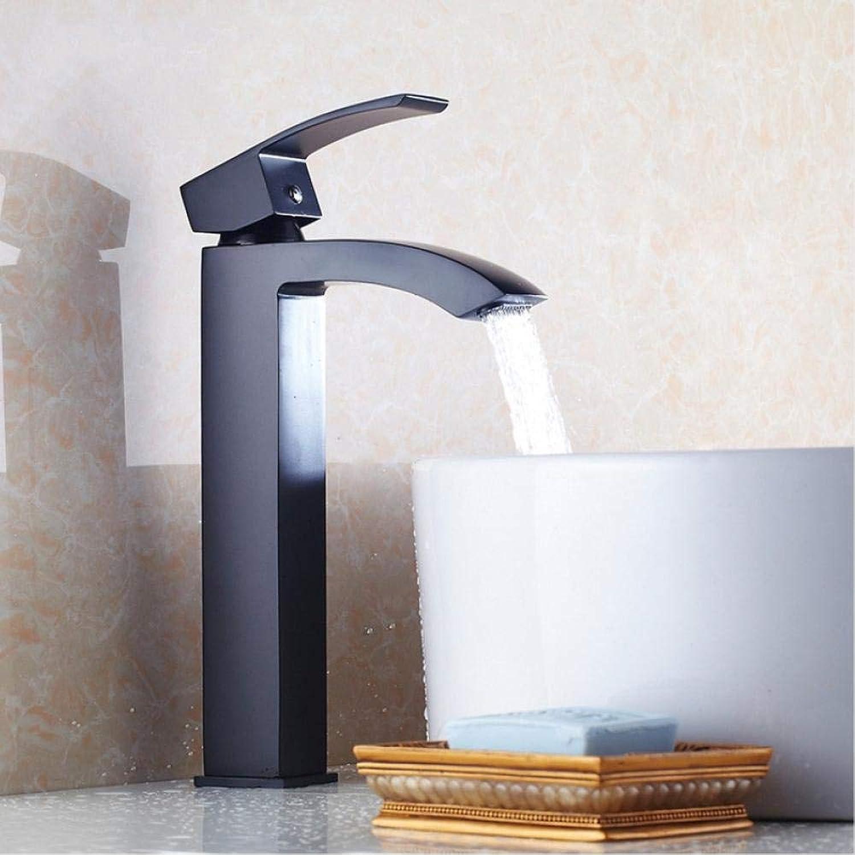 Wasserhahn Waschtischarmaturen Messing Schwarz Wasserfall Waschbecken Wasserhahn Groen Quadratischen Auslauf Einzigen Handgriff Zeitgenssische Mischbatterie Wasserhahn