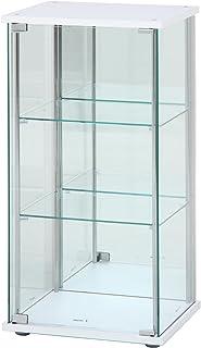 不二貿易 ガラスコレクションケース ホワイト 3段 幅42.5×奥行36.5×高さ86cm 背面ミラー付き 97335
