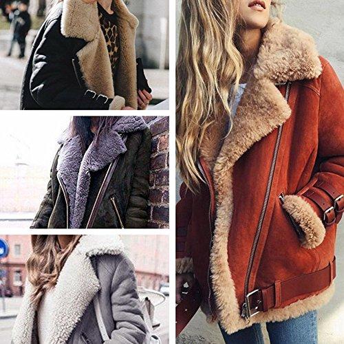 Minetom Damen Mode Warm Casual Streetwear Winter Wildleder Wolle Motorradjacke Mantel Fleece Outwear Jacke Parka Mit Taschen Grau DE 36 - 2