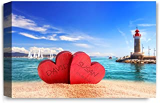 """Sponsored Ad - IPIC - """"Beach Lovers, Personalized Artwork with Names and Date on, Perfect Love Gift for Anniversary,Weddin..."""