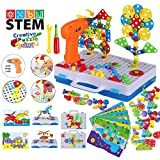STEM Educational Toys for Kids, Electric Drill Puzzle Toy Set and Button Art Kit, 3D Construction...