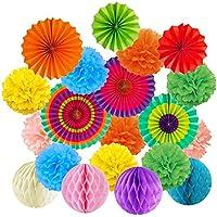 Abanicos de Papel Bola de Nido Pom Poms Ventilador de Papel para Colgar Decoración para Cumpleaños Boda Carnaval Bebé Ducha Home Party Supplies Decoración - Multicolor