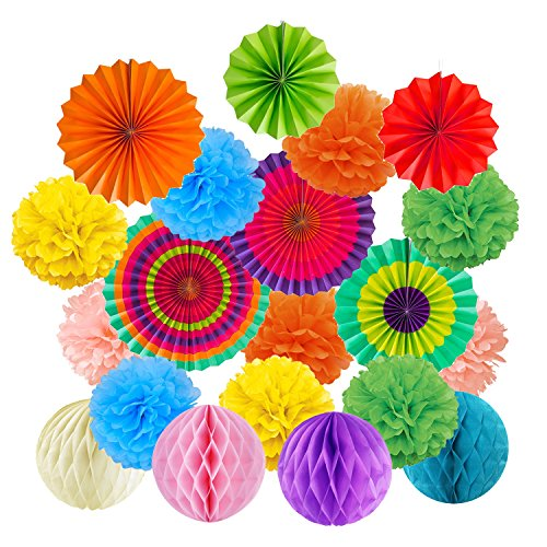 Cocodeko Hanging Paper Fans Tissue Paper Pom Poms Flower and Honeycomb Balls for Birthday Party Wedding Festival Christmas Decorations - Colorful