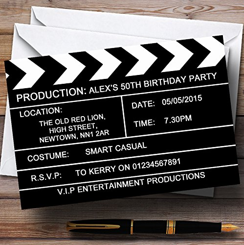 Hollywood Movie Clapboard Clapper Theme Personalized Birthday Party Invitations