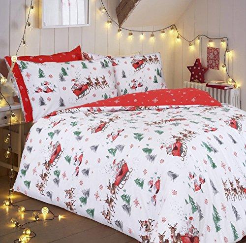 Sleepdown Beddengoedset Kerstman met Kerstman – Premium polykatoenen dekbedovertrekset met Kerstman slee & sneeuw rode achterkant, Kerstmis beddengoedset & kussenslopen – (King)