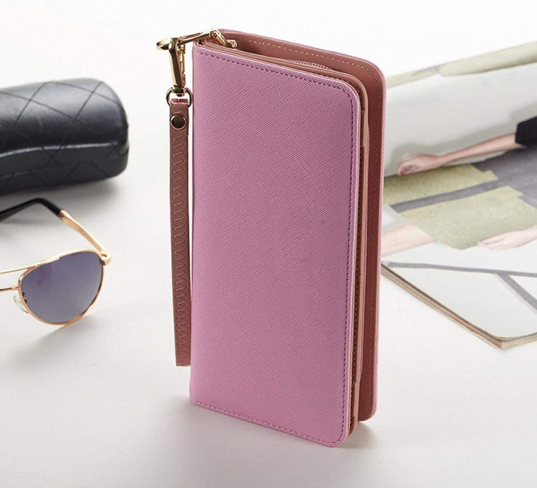 Soft MidLength Women's Purse Zip Clutch Clutch Change Card Handbag (color   Pink)
