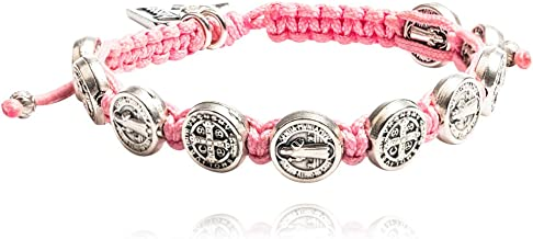 My Saint My Hero Handwoven Benedictine Blessing for a Cure Bracelet, Adjustable (Silver Plated Medals on Pink)