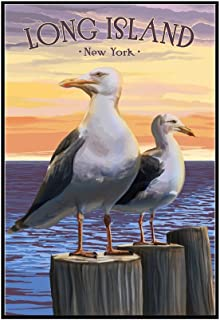 Long Island, New York - Seagulls on Pier (16x24 Framed Gallery Wrapped Stretched Canvas)