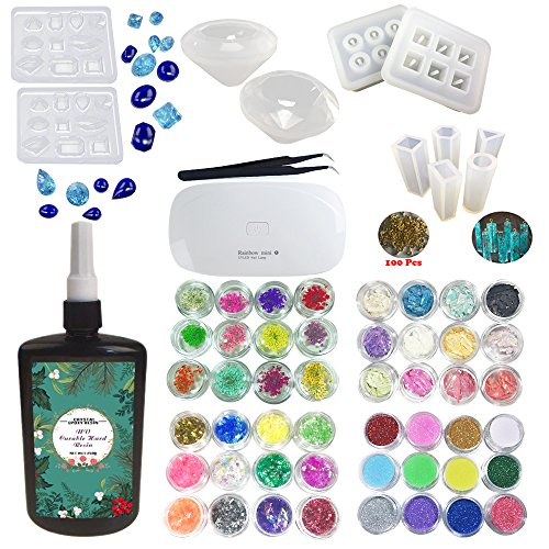 250ML Crystal Epoxy Resin UV Glue, 1 Piezas Mini UV LED Lamp, 1 Tweezer 4 Kit Set Decoración, 8 Piezas Transparant Silicone Mold ForHandcraft Jewelry Earrings Necklace Pulsera Nail Art