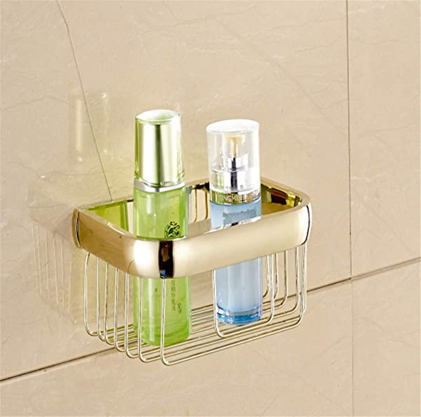 Tungchilan New Gold Finish Bathroom Shelf Cosmetics Storage Basket Multifunctional Storage Box