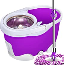 JUAN 360° Super Spin Mop Spinning Mop Bucket Metal Rotating Cleaning & 4 Mop Heads, Blue, Household
