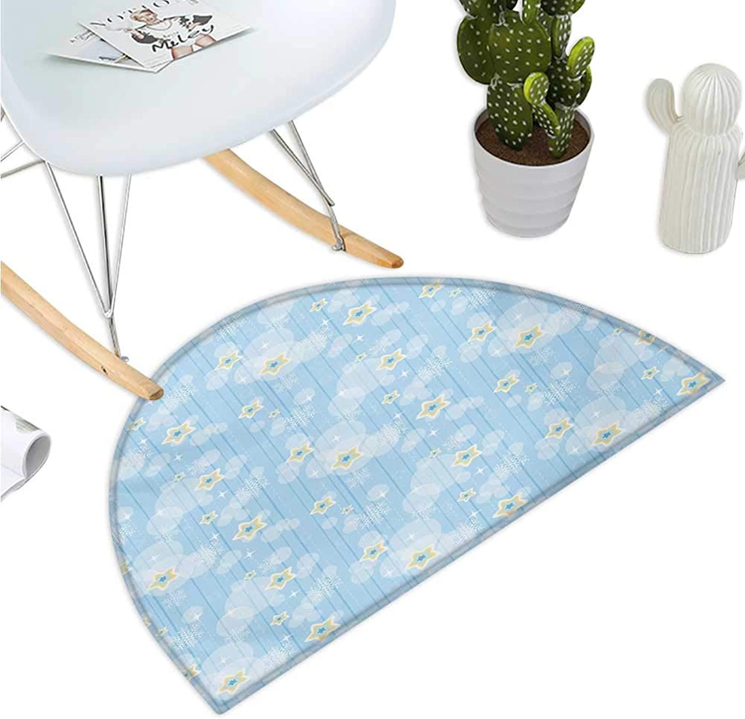 Winter Semicircle Doormat Cute Kids Baby Pattern Night Sky with Soft colord Stars Year Theme Entry Door Mat H 39.3  xD 59  Baby bluee Yellow White