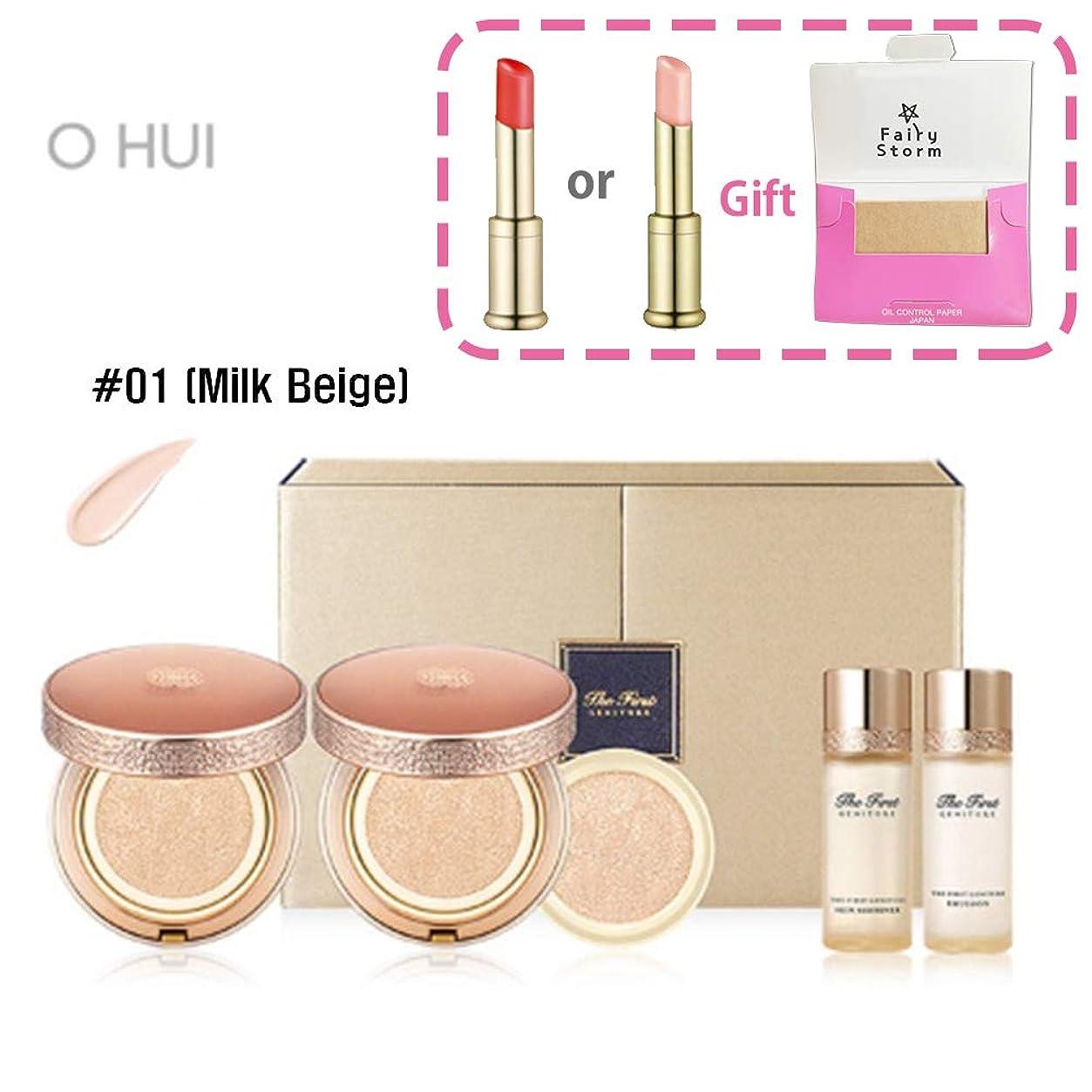 珍味ミシン残り[オフィス/O HUI] OHUI The First GENITURE Ampoule Cover Cushion Duo Special Limited Set #01 (Milk Beige)/The GENITUREアンプルカバークッションデュオスペシャル限定セット#01(ミルクベージュ)+[Sample Gift](海外直送品)